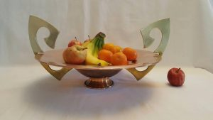 Aesthetic copper bowl - a stunning and unusual large Arts & Crafts centrepiece copper pedestal fruit bowl, with twin brass handles.