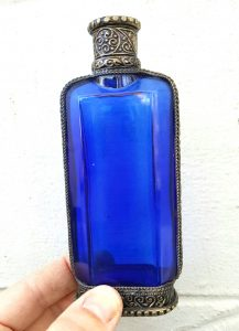 Vintage perfume bottle - an attractive cobalt blue glass and brass rose water sprinkler, a Middle Eastern cleverly upcycled perfume bottle