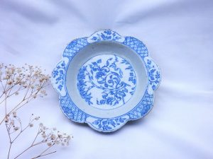18th Century Delft dish, floral motifs. English Delft ? Provenance - Anthony Collection label