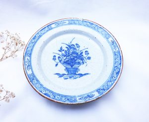 18th Century Delft dish, flowers in a vase. Dutch Delft pancake dish
