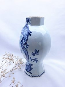 19th Century Dutch Delft vase of octagonal baluster form, twin masted ship, signed C F