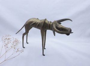 Vintage Benin style Nigerian bronze cow, stylised long horned cattle figurine, tourist piece, African ethnic art