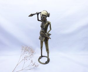 Vintage Benin style Nigerian bronze warrior, African male warrior figurine with spears, tourist piece, African ethnic art, tribal art