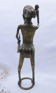 Vintage Benin style Nigerian bronze warrior, African male warrior figurine with spears, tourist piece, African ethnic art, tribal art