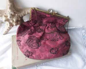 Vintage evening bag ~ dark dusky pink damask handbag with black rose pattern, satin lining and large sparkling diamante clasp & brass chain