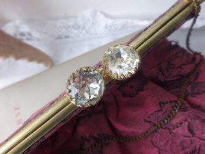Vintage evening bag ~ dark dusky pink damask handbag with black rose pattern, satin lining and large sparkling diamante clasp & brass chain