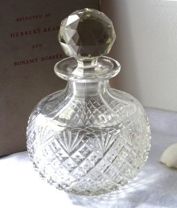 Antique perfume bottle ~ large cut glass perfume bottle with faceted stopper ~ blown glass scent bottle ~ romantic dressing table decor