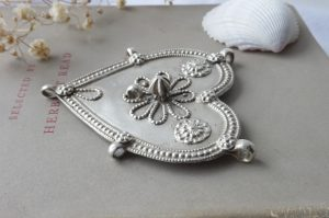 Antique Indian silver heart amulet