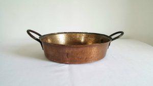 Victorian hammered bronze pan