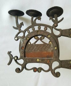 antique Indian brass betel nut cutter, unusually elaborate 19th Century piece, decorated with roundels, coloured glass