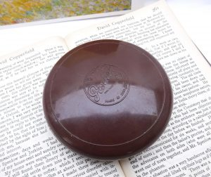 Vintage Parker Baccyflap - tobacco container, 1940's brown early plastic