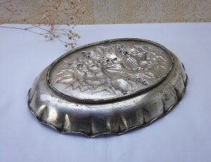 Victorian repoussé platter, oval verdigris brass dish with raised fruits, nuts & leaves pattern, partly silver plated, interior design piece