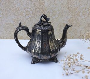 Victorian Shaw & Fisher teapot, small antique decorative engraved silver plated Britannia Metal teapot, Rococo style teapot, aged patina