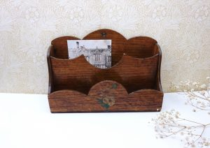 Antique oak veneer letter rack with two slots, decoupage flower, hanging hole, early 20th century storage, seed packet holder, office filing