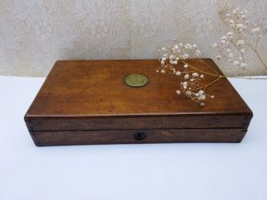 Antique oak box with newer red fabric lining, dovetail joints, brass disc to lid, no lock, seed box, storage box, filing box, desk decor