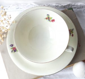 Antique china teacup and saucer ~ Gareis Kühnl & Co, Bavaria ~ delicate German porcelain cup and saucer with flowers ~ vintage party china