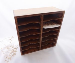 Antique beech and plywood letter rack with six shelves (divided into 14 slots), holes for fixing to wall or table top office filing tray