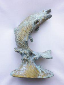 verdigris brass leaping salmon garden ornament