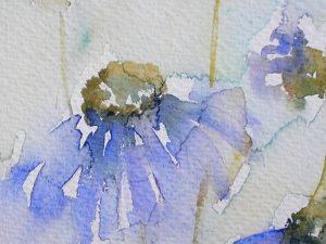 Watercolour painting of blue flowers ~ original art by artist Amanda Hawkins ~ Cottage Garden ~ botanical art ~ unframed artwork ~ wall art