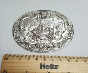 Silver oval plaque - an antique Dutch hallmarked silver plaque depicting a nuptial festive scene by J. H Roelfsema of Winsum, Groningen