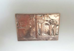 Vintage copper plaque - a war memorial souvenir plaque of The Menin Gate, Ypres, Belgium, dedicated to the Allied soldiers killed during WW1