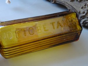 Antique rare hexagonal amber poison bottle, ribbed Not To Be Taken bottle. 2 ounce. Has original blank paper label. Victorian poison bottle