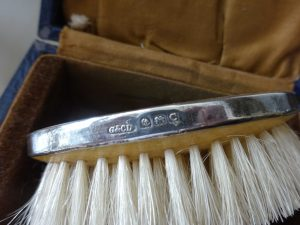 Antique guilloche & sterling silver brush