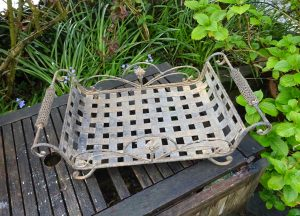 Vintage wrought iron plant stand, basket weave plant tray with side handles, rustic gardenalia, vintage conservatory decor, greenhouse decor