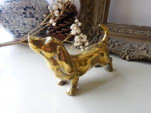 Antique brass Bassett Hound figurine