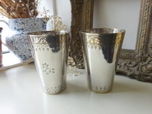Antique pair Middle Eastern Lassi cups, silver plated on spun brass, hand etched Mughal style designs, Colonial Indian engraved beaker, vase