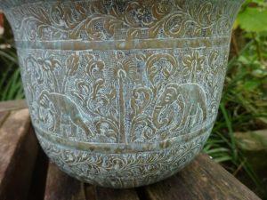 Antique Indian brass jardiniere, repoussé Indian verdigris brass planter, elephants, brass plant pot, Asian art, gardenalia, aged patina