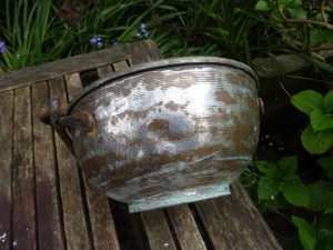Antique copper cauldron with forged iron handle, some tin plating on outside, rustic planter, garden pot, hanging basket, gypsy cooking pot