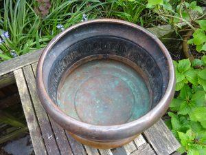 Antique brass jardiniere, renaissance style planter, original bronze colour patination, garden plant pot, indoor planter, gardenalia, patina