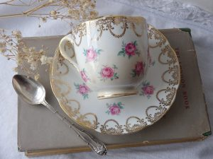 Vintage china coffee cup and saucer by Adderley Bone China Lawley pattern & silver plated coffee spoon ~ small china coffee cup ~ pink roses