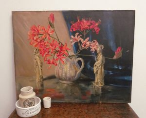 Beautiful floral still life oil painting by M A Stone, Japanese figurines, Guernsey lilies, nerines in a jug, unframed art, oil on wood