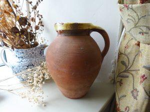 Antique terracotta jug, yellow slip glazed rim, glazed interior, large Devon pottery jug, rustic pottery pitcher, water jug, Devonshire