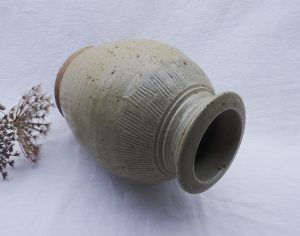 Vintage stoneware vase, incised pattern, salt glazed stoneware, pottery vase signed D