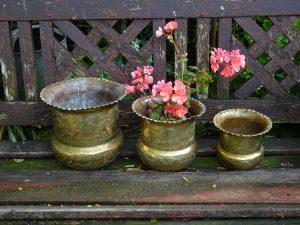 Antique Indian brass jardinieres, nesting set of three, engraved Indian verdigris brass planters, birds & dancers, brass plant pots, 3 sizes