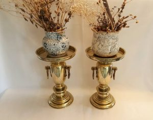 antique Japanese brass usubata vases
