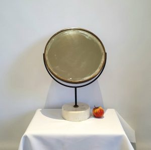 Modernist dressing table mirror with white marble base