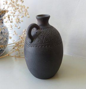 Vintage black clay vase or jug. Incised decoration, pottery bud vase, 20th century studio pottery, signed Hokvol