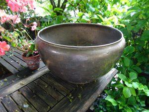 Antique brass jardiniere, large brass planter, big plant pot holder, original aged patina, bronze coloured, gardenalia, outdoor plant pot