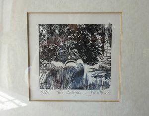 Vintage wood engraving entitled The Saltjar by John Hunt, print, limited edition black & white print of salt jar in garden, wood block art