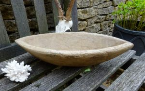 Antique carved walnut wood bowl, rustic Eastern European boat shaped wooden food bowl
