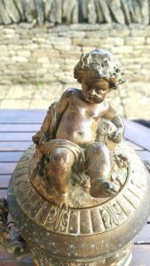 19th century French ormolu urn with cherubs