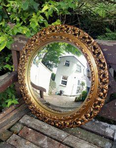 Vintage large gilt framed convex mirror