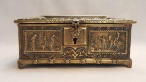 Antique brass casket