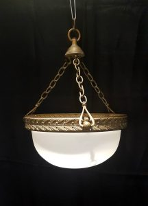 Antique plafonnier shade - a lovely antique brass and frosted milk glass plafonnier 'fly catcher' type bowl & original triple hook fitting.