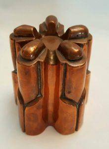 Antique copper jelly mould - a late 19th Century Victorian copper jello mold by Benham & Froud design No. 474, five turrets