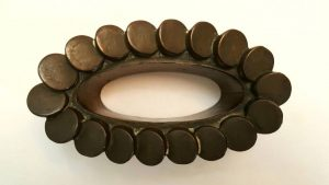 Antique copper jelly mould - a late 19th Century Victorian copper jello mold by Benham & Froud design No. 669, ribbed coin stack type design